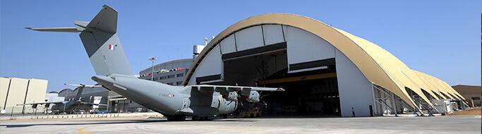 Geotermia Hangar AIRBUS A400M en aeropuerto militar de Sevilla